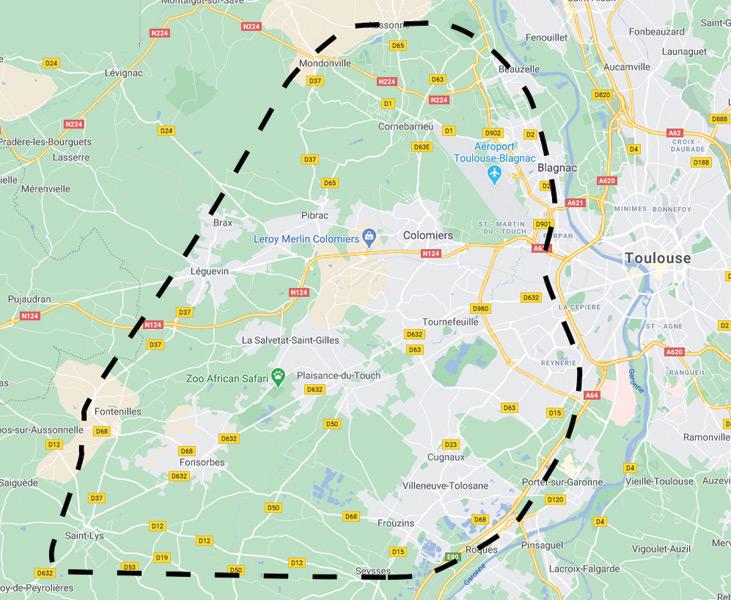 Carte avec zone d'intervention